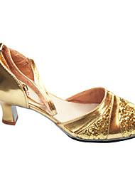 Scarpe da ballo-Non personalizzabile-Da donna-Balli latino-americani-Tacco a rocchetto-Finta pelle-Argento / Dorato