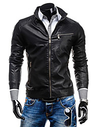 Men's Casual/Daily Simple Leather Jackets,Solid Stand Long Sleeve All Seasons Black / Brown Cowhide Medium