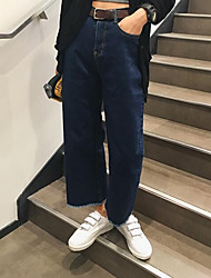 Women's Wide Leg Jeans Pants,Casual/Daily Simple Solid Mid Rise Zipper Cotton Micro-elastic Spring / Fall