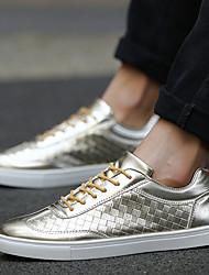 Herren-Sneaker-Lässig-PUKomfort-Schwarz / Weiß / Gold
