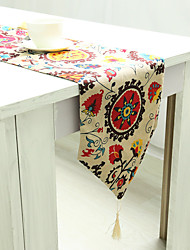 Rectangular Patterned / Embroidered / Floral Table Runner , Linen / Cotton Blend Material Hotel Dining Table / Table Decoration