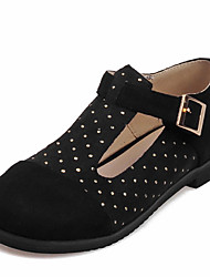 Women's Flats Spring Summer Fall Leatherette Outdoor Office & Career Casual Flat Heel Crystal Black Brown Yellow Red