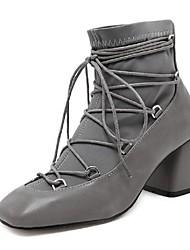 Damen-Stiefel-Lässig-Stretch - Satin-Blockabsatz-Andere-Schwarz Grau