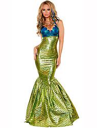 Cola de Sirena Festival/Celebración Traje de Halloween Verde / Azul Un Color VestidoHalloween / Navidad / Carnaval / Día del Niño / Año