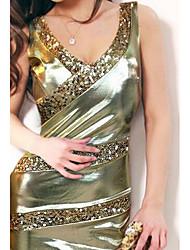 Moulante Robe Femme Soirée simple,Couleur Pleine Col en V Au dessus du genou Sans Manches Or Polyuréthane Automne / Hiver Taille Haute