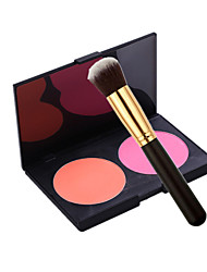 Double Color Blush Dry Pressed powder  Pink / Peach Blush Plate with Blush Brush