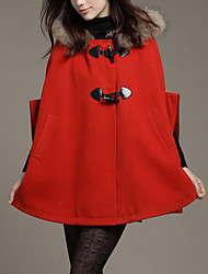 Women's Casual/Daily Simple Coat,Solid Notch Lapel Long Sleeve Fall / Winter Red / Black / Yellow Cashmere / Polyester Thick