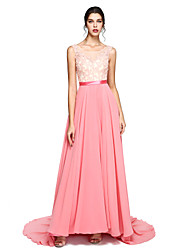Formal Evening Dress A-line Scoop Court Train Chiffon / Lace with Appliques / Beading / Sash / Ribbon