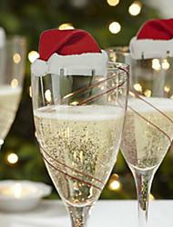 3pcs cartão de vidro de vinho tinto no design dia de natal é aleatória