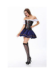 Fest/Feiertage Halloween Kostüme Blau & Schwarz einfarbig Top / Rock / Mehre Accessoires Halloween / Weihnachten / Karneval Frau