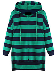 Fashion Large yards women Long sleeves Hooded Stripe In the long section Loose Sweater