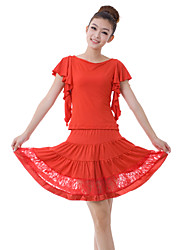Latin Dance Outfits Women's Training Lace / Milk Fiber Lace 2 Pieces Purple / Red Latin Dance Short Sleeve Top / Skirt