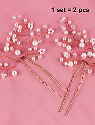 Femme Imitation de perle Casque-Mariage / Occasion spéciale Fleurs 2 Pièces