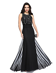2017 TS Couture® Formal Evening Dress - Sparkle & Shine Sheath / Column Jewel Floor-length Chiffon with Beading / Sash / Ribbon / Ruching