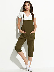 Women's Solid Black / Green Jumpsuits,Cute Strap Sleeveless