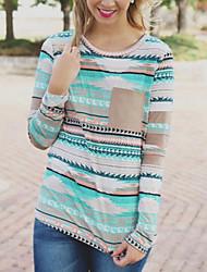 Damen Druck Einfach / Anspruchsvoll Ausgehen / Lässig/Alltäglich T-shirt,Rundhalsausschnitt Alle Saisons Langarm Blau Kunstseide Mittel