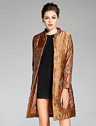 Feminino Casaco Casual / Tamanhos Grandes Temática Asiática Outono / Inverno,Bordado Vermelho / Marrom / Verde Poliéster Colarinho Chinês-