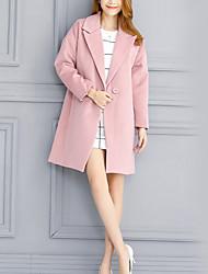 Женский На каждый день Однотонный Пальто Лацкан с тупым углом,Простое Розовый Длинный рукав,Полиэстер