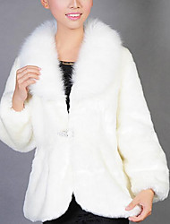 Feminino Casaco de Pêlo Informal / Casual Simples Outono / Inverno,Sólido Branco Pêlo Sintético Lapela Xale-Manga Longa Grossa