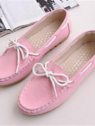 Feminino-Sapatos de Barco-Conforto-Rasteiro-Preto / Amarelo / Rosa / Vermelho / Cinza-Couro Ecológico / Courino-Escritório & Trabalho /