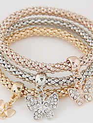 Women Fashion Simple Rhinestones Anchor Rudder Charm Bracelet Gift