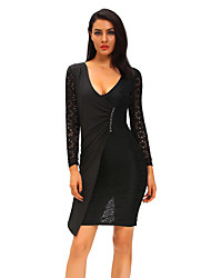 Women's Black Lace Long Sleeve Asymmetric Splice Dress