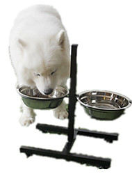 Cachorro Comedouro Animais de Estimação Tigelas e alimentação de animais Casual Prateado Aço Inoxidável