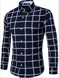 Men's Casual/Daily Simple Spring / Fall Shirt,Plaid Square Neck Long Sleeve Blue / White Cotton Medium