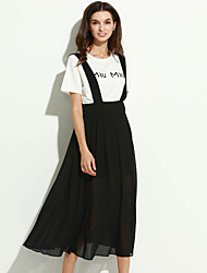 Women's Simple Striped Swing Dress,Round Neck Maxi Polyester