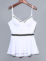 Mulheres Malha Íntima Bandagem Sensual Verão,Sólido Branco / Preto Poliéster / Elastano Com Alças Sem Manga Fina