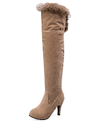 Women's Boots Fall / Winter Fur / Fleece Party & Evening / Dress / Casual Stiletto Heel Fur / Lace-up Black / Beige Others