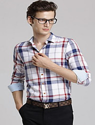 Men's Casual/Daily / Party/Cocktail Vintage Shirt,Color Block Classic Collar Long Sleeve Blue Cotton Medium