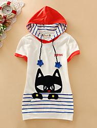 Damen Druck Einfach Lässig/Alltäglich T-shirt,Mit Kapuze Kurzarm Blau / Weiß Baumwolle