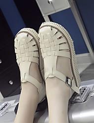Damen-Sandalen-Lässig-PU-CreepersSchwarz Braun Weiß