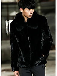 Men's Going out Vintage / Simple Fur Coat,Solid Shirt Collar Long Sleeve Winter Black Faux Fur Thick