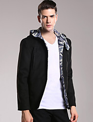 Men's Casual/Daily Simple Jackets,Solid Hooded Long Sleeve Fall / Winter Black Wool / Polyester Medium