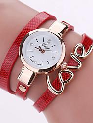 Damen Modeuhr Armbanduhr Armband-Uhr Quartz Mehrfarbig PU Band Vintage Heart Shape Süßigkeit Böhmische Bettelarmband Armreif Cool Bequem
