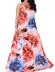 Ample Robe Femme Sortie / Décontracté / Quotidien / Plage simple,Points Polka / Galaxie Col en V Maxi Sans Manches Rose Polyester