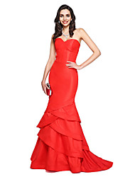 Mermaid / Trumpet Sweetheart Court Train Taffeta Formal Evening Dress with Cascading Ruffles by TS Couture®