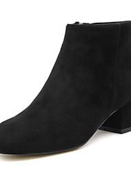 Women's Boots Spring Fall Winter Comfort Sheepskin Outdoor Dress Casual Chunky Heel Zipper Black Almond Walking