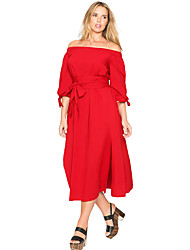Women's Red Chambray Off the Shoulder Belted Curvy Dress