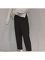 Feminino Delgado / Skinny Chinos Calças-Cor Única Casual Simples Cintura Média Elasticidade Algodão Micro-Elástico Outono / Inverno
