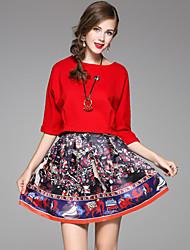 Set Jupe Costumes Femme,Imprimé Décontracté / Quotidien simple Automne Manches ¾ Bateau Rouge Polyester
