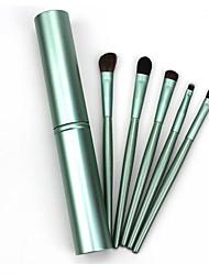 5 Makeup Brushes Set Horse Hair Professional / Portable Wood Handle Face/ Eye Green