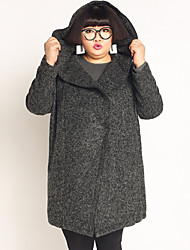 JAZZ  Women's Plus Size / Casual/Daily Simple CoatSolid Hooded Long Sleeve Winter Gray Wool / Polyester