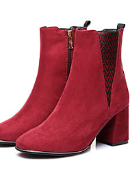 Women's Boots Winter Others Glitter Fabric Dress Casual Party & Evening Chunky Heel Zipper Split Joint Gore Black Silver Burgundy