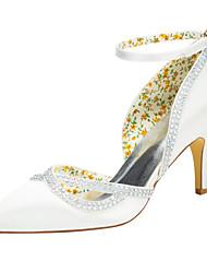 Damen-High Heels-Hochzeit Party & Festivität-Stretch - Satin-StöckelabsatzElfenbein