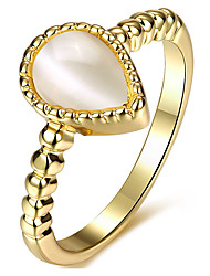 Opal Engagement Ring Classic Ancient Gold Plated Waterdrop Opal Stone Rings Wedding Jewelry High Quality Bijoux for Women