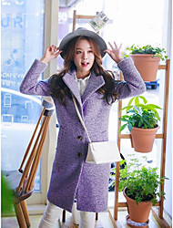 Women's Going out / Casual/Daily Simple Coat,Solid Long Sleeve Fall / Winter Green / Purple Polyester Medium