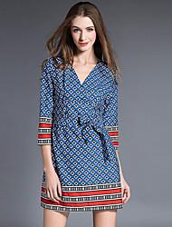 Trapèze Robe Femme Décontracté / Quotidien Chic de Rue,Imprimé Col en V Mini Manches ¾ Bleu Polyester Automne Taille Haute Micro-élastique